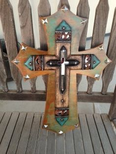 Decorative+stacked+wooden+cross+by+TickleTotCrafts+on+Etsy,+$60.00