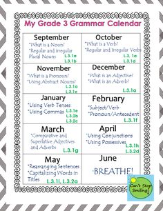 Grammar Grade 3 Common Core Aligned- All you need including calendar and printables with standards plugged in to each activity $6