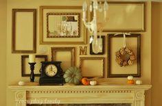 decor, idea, empti frame, fireplac, fall mantels, empty frames, frame collages, mantl, frame walls