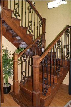 wood staircas, wrought iron staircase ideas, rod iron staircase
