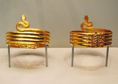 Greek, Alexandria, Egypt, 220 - 100 BC  Gold and copper alloy snake ring