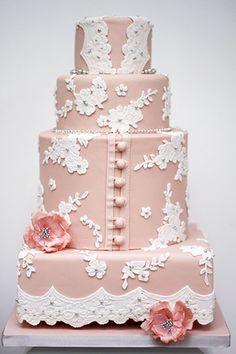 Pretty wedding cakes inspiration from Bite Me Bakery Lace Cakes, Pink Cakes, Cake Inspir, Bakeri, Cake Desserts, Button Detail, White Wedding Cakes, Blush