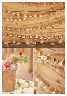 Gold ornament garland with escort cards. Could be the favor...and also decoration...and functional as escort card. (http://www.100layercake.com/blog/2012/04/02/southern-glamour-wedding-casey-paul/)
