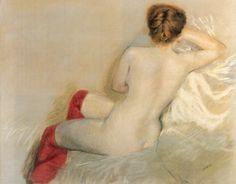 Nude with Red Stockings - Giuseppe de Nittis