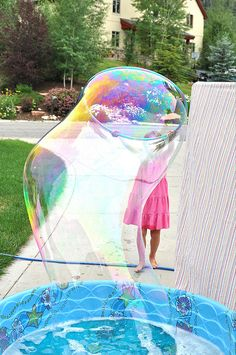 The BEST homemade bubble recipe - hands down! super bubbl, idea, giant bubbles, homemade pool, bubble party, outdoor fun, summer fun, kid parties, photography kids