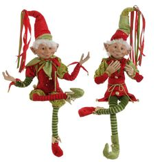 RAZ Merry Mistletoe Christmas Elf Pair