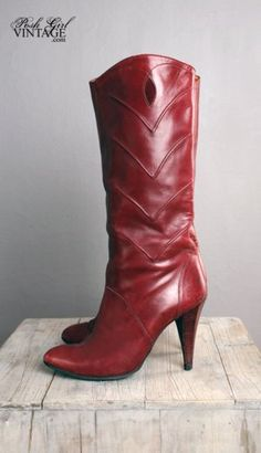 1970's Burgundy Leather High Heel Boots