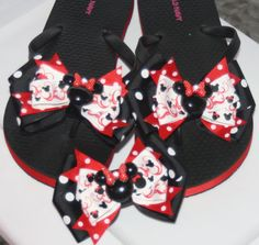 Minnie Mouse Inspired Red Black and White Polka Dot by bowsforme, $21.99