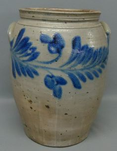 BLUE DECORATED STONEWARE CROCK  	      	                  NO MAKER NAME