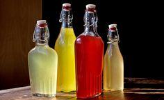 homemade citrus liquor (from left: meyer lemon, cara cara orange, blood orange, pink grapefruit)