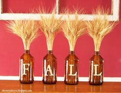 Fall decorations. #DIY #Wine #beer #party #crafts #decor #halloween wheat, craft, season, letter, fall decorating, fall decorations, beer bottles, wine bottles, root beer