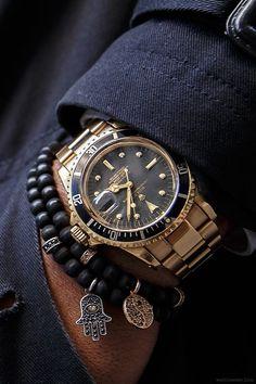 Proper men's wrist wear., Beaded Bracelets + 1977 Rolex 1680 8 submariner  ~~~ FOLLOW US ON PINTEREST for Style Tips, Men's Basics, Men's Essentials on anything, OUR SALES etc... ~ VujuWear