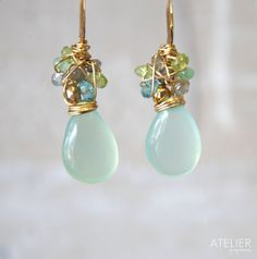 Gem Cluster Earrings by ATELIERGabyMarcos on Etsy, $67.00