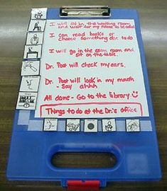 Student: schedule orientated, anxious students Environment: in school or anywhere Task: keeping a schedule Tool: This can be used to keep a picture schedule for students to help them to know what to expect through the day and to see what is going to happen.