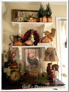 Roosters on Shelves.... showing some ideas on how to decorate with your fabulous rooster collection!!!!! loooooooooove!!!!!