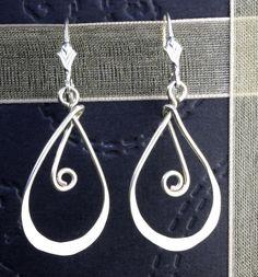 Hammered sterling dangle earrings