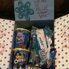 """**Our 1st themed Care Package to Daddy """"We're BLUE without YOU""""**      So blue without you box! (all things blue)"""