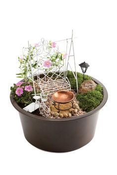 White Mini-Garden Assortment in Brown Eco Pot.