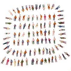 100pcs OO Scale 1:75 Mix Painted Model Train Park Street Passenger People Figures