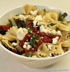Pasta with Sun Dried Tomatoes, Olives, Spinach  Feta