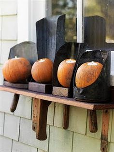 old grain scoops and pumpkins