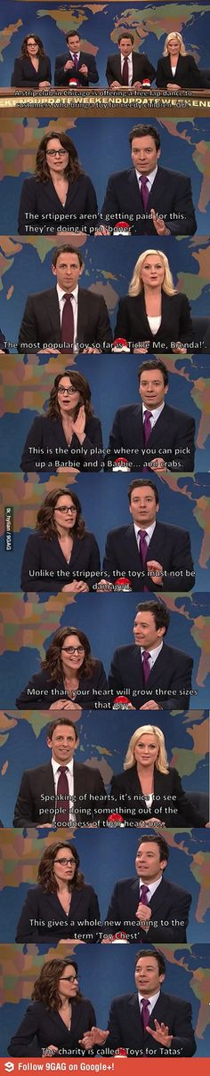 "The same piece of news, many different jokes. Seth and Amy have a ""joke off"" with Jimmy and Tina on SNL :D"