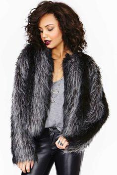 Salt & Pepper Faux Fur Coat