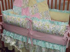 So sweet crib bedding, color schemes, color patterns, crib skirt, eat babi, cribs, aqua color, babi nurseri, bedding sets