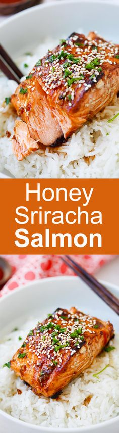 "Honey Sriracha Salmon - easy, spicy, sweet, and savory, this glazed salmon recipe is awesome | <a href=""http://rasamalaysia.com"" rel=""nofollow"" target=""_blank"">rasamalaysia.com</a>"