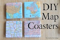 diy coasters, diy map, bunk beds, maps, map crafts, map coaster, crafty home, place, gift idea
