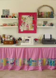 Love this sewing desk - cute moodboard frame!