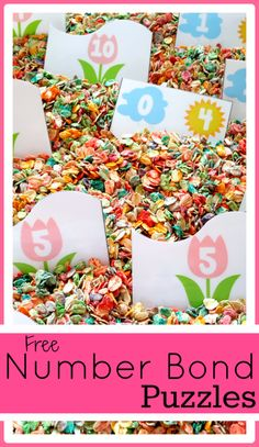 FREE  Flower Number Bond Puzzles for addition up to 10. Use with or without a sensory bin. #preschool #efl #education (repinned by Super Simple Songs)