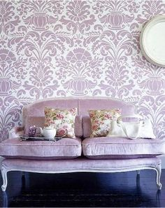Purple patterned wallpaper and couch | www.myLusciousLife.com