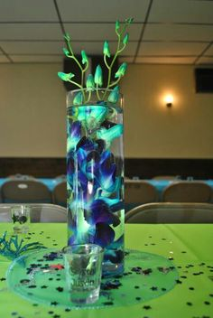 Orchid vase, blue and green wedding, under the sea theme