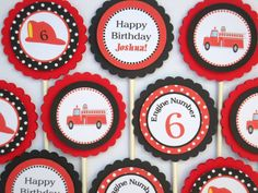 """FIRE ENGINE CUPCAKE Toppers / Fire Truck Cupcake Toppers/ Set of 12/ Just change the """"Happy Birthday"""" wording to """"Welcome"""" or the baby's name/$10.00, via Etsy."""
