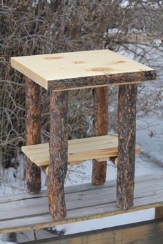 Rustic Log (Bark On Top and Legs) End Table / NightStand - Cabin, Lodge Log Furniture - Free Shipping