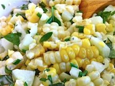 corn/cucumber/basil salad