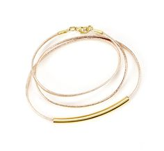 leather and gold wrap bracelet