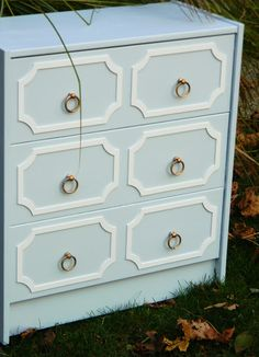 diy draper chests the easy way! dresser makeovers, furniture makeover, overlay, old dressers, nurseri, master bedrooms, paint, black, chest of drawers