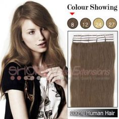 20 Inch 20pcs Tape Premium Remy Human Hair Extensions Straight (#8 Light Brown)