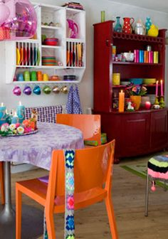 wow. decor, dream, colorful rooms, colors, colorful houses, cubbi, kitchen, colourful interiors, craft rooms