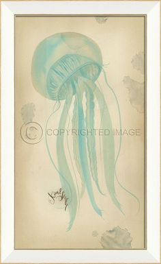 Blue Jellyfish cottage art from our Kolene Spicher beach art collection, with a large flowing watercolor-like undersea creature
