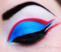 dramatic makeup, colorful makeup, eye makeup, blue, the crow, art, beauty, sailor, rave makeup