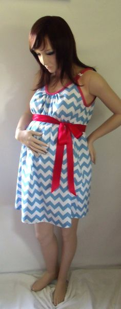 Blue Chevron Maternity Hospital Gown, delivery nursing gown breastfeeding gown