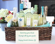 """Quenching Your Thirst through All of Your Firsts"" Wine Gift Basket (with tags!) -- Perfect gift for Weddings, Bridal Showers, Housewarmings, Engagements, etc!"