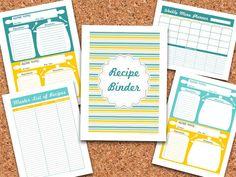 DIY Recipe Binder Set - Recipe Organizer - Editable Organizing Printables