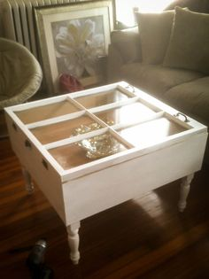 A window frame table is a great idea!