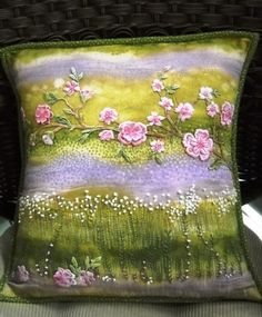 crazy quilting pillow, ribbon work