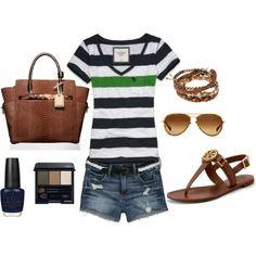 short, summer looks, casual summer, blue green, tory burch, summer outfits, shoe, stripe, shirt