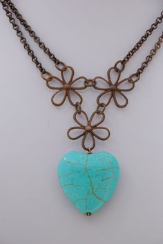 Turquoise on Brass by FancyGirlDesigns on Etsy, $35.00